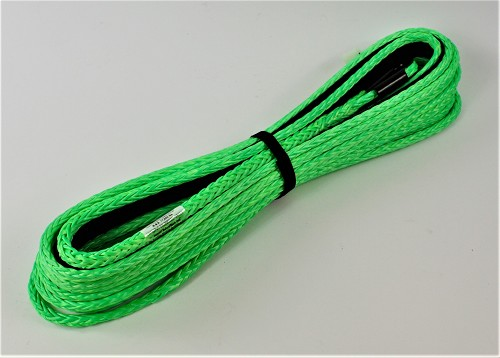 "3/8"" x 65' Freedom Optimized Winch Rope  for External Brake Winches MBS17,000 lbs Made In Canada Lime Green"