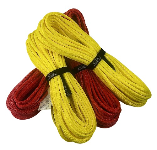 Tuff-X Premium HMPE Winch Rope Extender 100' Firecracker Red and Lemon Yellow