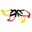 "Tuff-X 7/16 x 10"" Soft Shackle MBS 45,000 lbs Firecracker Red  and Lemon Yellow with Chafe Guard"